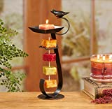 CC Home Furnishings Pack of 2 Espresso Brown Bird Bath Decorative Rope Candle Holders 12″ For Sale