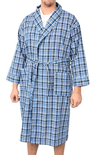 - Hanes Big and Tall Light Weight Plaid Robe (Blue 3/4X)