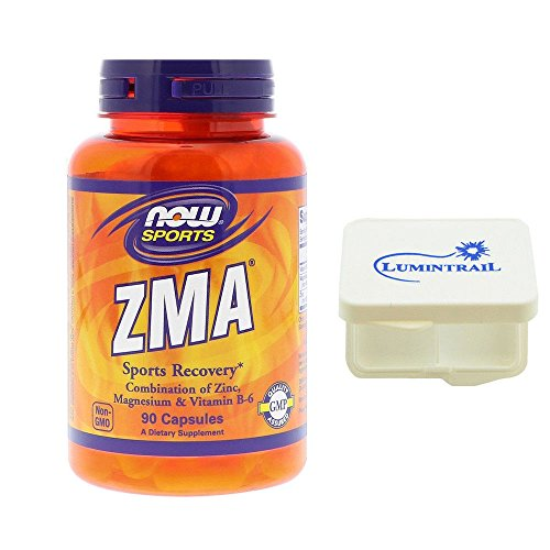Now Foods ZMA Sports Recovery Combination of Zinc Magnesium & Vitamin B-6 800 mg 90 Capsules Bundle with a Lumintrail Pill - 90 Nutrition Capsules Zma
