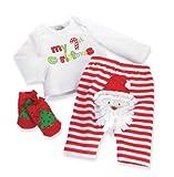 Mud Pie Baby-Girls Newborn Santa 3 Piece Set, Multi Colored, 0-6 Months