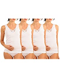 Women's Cotton Camisole Undershirt with Lace (Pack of 4)