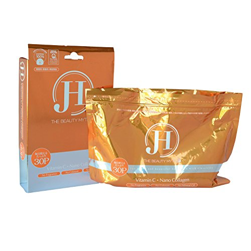 J&H Vitamin C with Nano Collagen Facial Mask Sheet - Made in Japan - Anti-aging, Anti-wrinkle, Skin Firming, Rejuvenating, Brightening (Pack of 30)