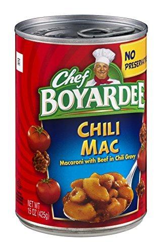 - Chef Boyardee, Chili Mac, Macaroni with Beef in Chili Sauce, 15oz Can (Pack of 6)