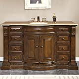 Silkroad Exclusive Travertine Top Single Sink Bathroom Vanity with Furniture Cabinet, 60-Inch