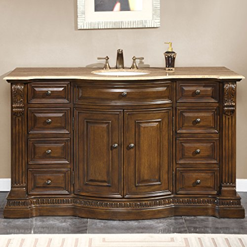 Silkroad Exclusive Travertine Top Single Sink Bathroom Vanity with Furniture Cabinet, 60-Inch by Silkroad Exclusive