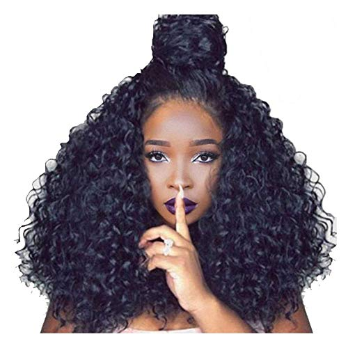JHHXW Wig Long Curly Hair Perm Women Black Synthetic Natural Fluffy Heat Resistant Curls Ladies Cosplay Party