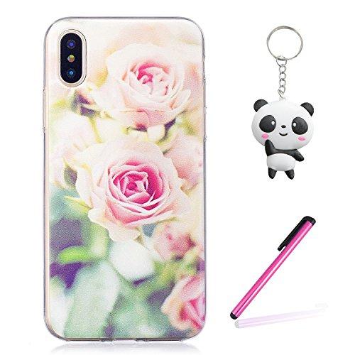 Coque iPhone X Jolie rose Premium Gel TPU Souple Silicone Transparent Clair Bumper Protection Housse Arrière Étui Pour Apple iPhone X / iPhone 10 (2017) 5.8 Pouce Avec Deux cadeau