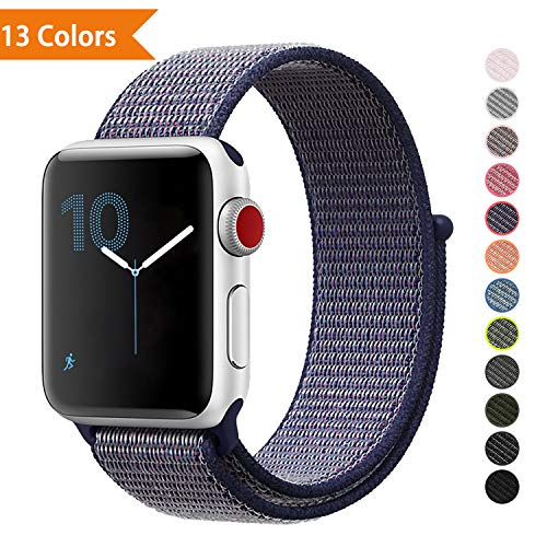 YOUKEX❤️ Watch Strape Wrist-Band Compatible with Apple Watch 38mm 42mm, Soft Nylon Sport Loop, Replacement Band for iWatch Series 1, Series 2, Series 3, Series 4, Sport, Edition 38MM Midnight Blue