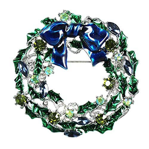 (Sojewe Christmas Wreath Bell Brooch Pin Green Blue Austrian Crystal Stone Gold-Tone)