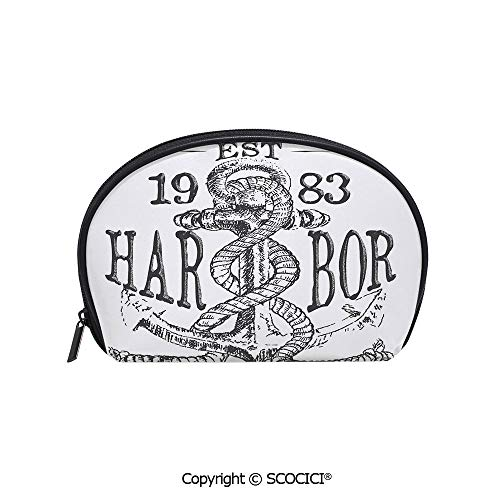 SCOCICI Printed Small Travel Toiletry Cosmetic Pouch Antique Anchor and Rope Doodle in Vintage Illustration Harbor Heaven Shiping Elements Art Handy Daily Storage Makeup Bag