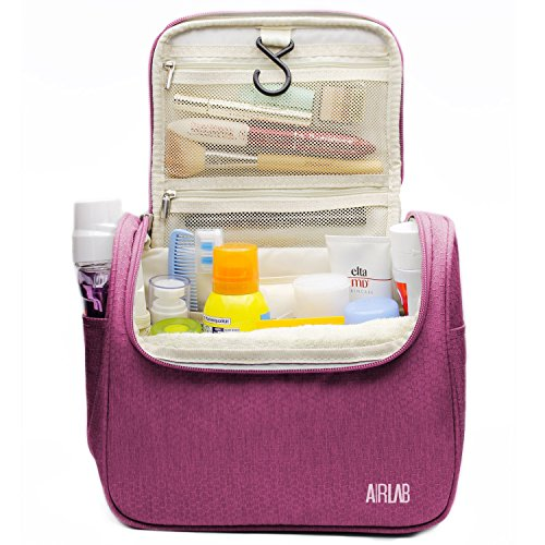 Toiletry Bag for Women, Airlab Hanging Large Travel Makeup bag/Cosmetic Bag with Handle and Hook, Travel Organizer for Men and Women,Pink