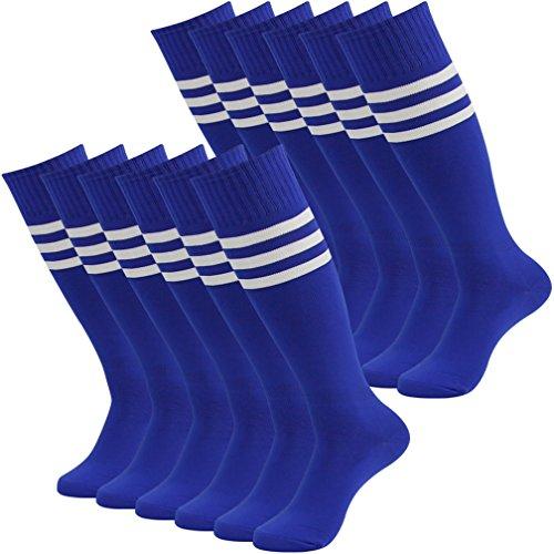 (Fasoar Women Men Youth Girls Colorful Knee High Fashion Socks Assorted Tube Socks Pack of 12 Blue)