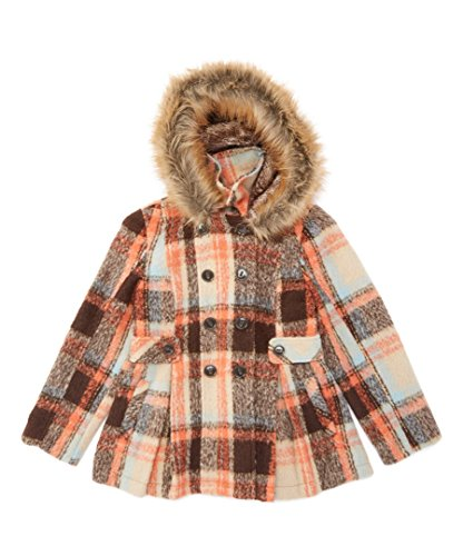 Brown Plaid Faux Fur-Accent Pleated Peacoat - Girls (12)