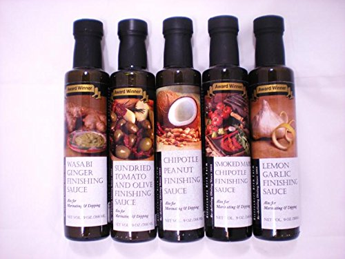 Bittersweet Herb Farms Five Flavor Finishing Sauce Variety Pack (Wasabi Ginger, Sun-Dried Tomato, Lemon Garlic, Smoked Maple, Chipotle Peanut)