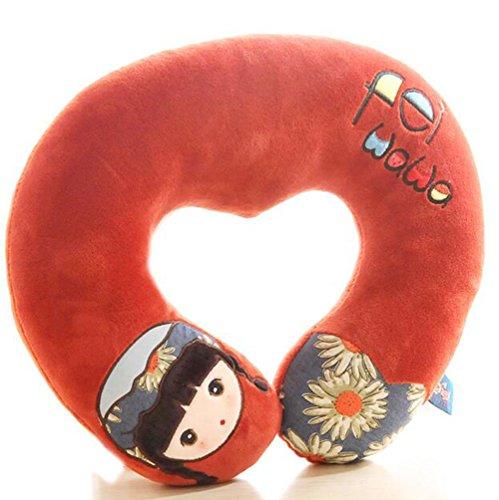 Cartoon Monkey U-shaped Neck Pillow Travel Nursing Neck Pillow Nap Plush Pillow Gift (red)