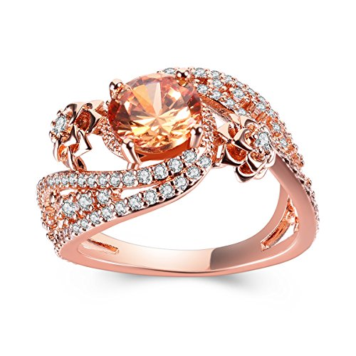 Women Rings Cubic Zirconia Rose Gold Plated Charming Flower Shaped Exquisite Ring Party Jewelry Mother 's Day Gift Size 7 (Ring Shaped Rose)