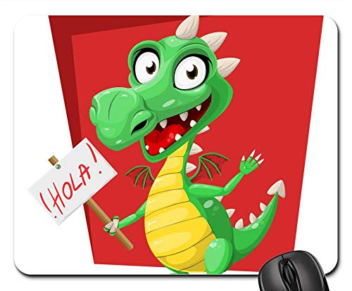 Mouse Pads - Dragon Green Hola Sign Spanish Reptile Cute