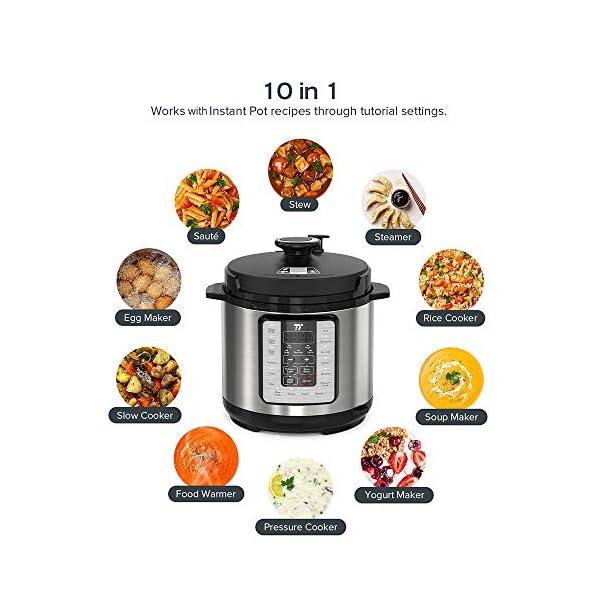 TaoTronics TT-EE006 Electric Pressure Cookbook 6QT, 10-in-1 Multi-Use, 16 Programs, Slow, Rice Cooker, Steamer, Sauté… 2
