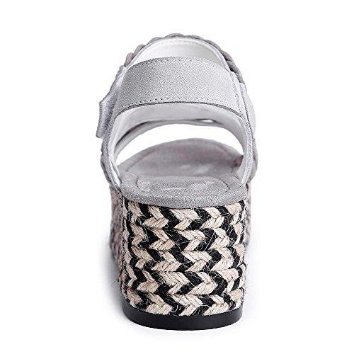 GJDE Zapatos Casuales Mollete Sandalias de Paja Planos de Fondo Grueso Zapatos Impermeables Mujer Tacón Cuña Cuñas Grey