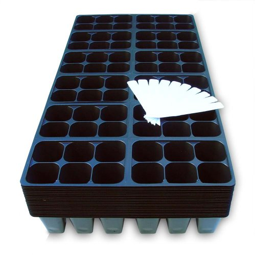 (1440 Cells Seedling Starter Trays for Seed Germination +10 Plant Labels (240, 6-cell Trays))