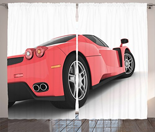 Manly-Decor-Curtains-By-Ambesonne-Red-Super-Car-Luxurious-Lifestyle-Automobile-Transport-Modern-Fashionable-Window-Drapes-2-Panel-Set-For-Living-Room-Bedroom-108W-X-90L-Inches
