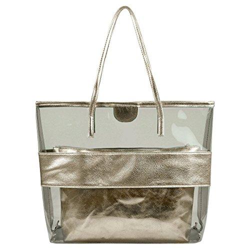 [Micom Clear Tote Bags Large Stripe PVC Lash Package Beach Shoulder Bag with Interior Pocket] (Stripe Shoulder Tote Bag)