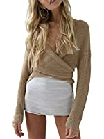 Glamaker Women's Wrap Long Sleeves Knit Sweater V Neck Cardigan with Tie