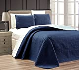 "3-Piece NAVY BLUE / LIGHT BLUE Oversize ""ORNATO"" Reversible Bedspread QUEEN / FULL Embossed Coverlet set 106 by 100-Inch"
