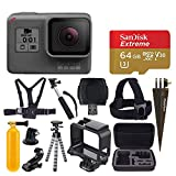 GoPro HERO (2018) + SanDisk 64GB Extreme PLUS microSDXC Memory Card + Hard Case + Chest Strap Mount + Head Strap Mount + Flexible Tripod + Extendable Monopod + Floating Handle - Value Accessory Bundle