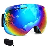 Snow Goggles Anti Fog,Lonni Safety Clear Ski Snowboard Goggles UV Protection Anti-Scratch Eyewear Over Glasses for Men&Women Skiing Snow Skate Winter Sports Protector