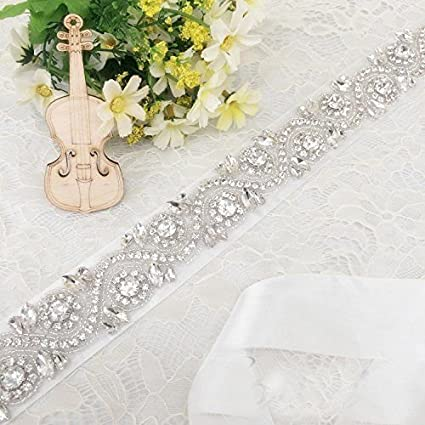 Amazon com: ShinyBeauty Bridal dress sash, Glass beaded