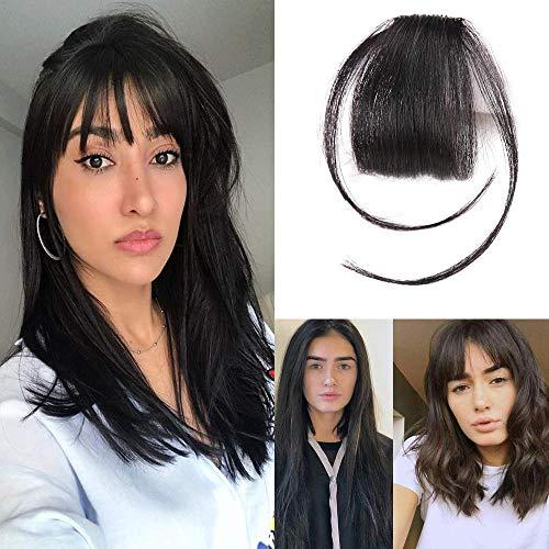 HIKYUU Natural Black Clip on Fringe Bangs Human Hair 100% Remy Real Brazilian Human Hair Neat Front Air Bangs Extensions with Temples (Human Clip On Bangs)