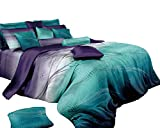 Teal and Purple Comforter Sets Swanson Beddings Twilight-P 3-Piece 100% Cotton Bedding Set: Duvet Cover Two Pillow Shams (Queen)
