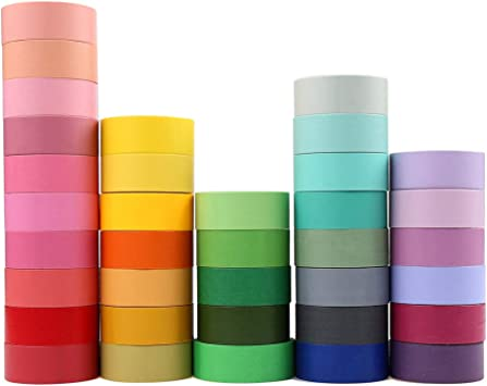 adhesive tape green 3 meters long blue self-adhesive paper Washi tape metallic color pink set of 10 rolls flowers bujo