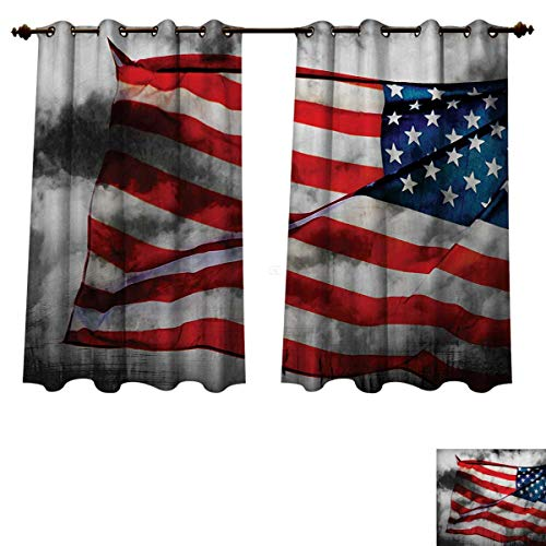 RuppertTextile American Flag Blackout Thermal Curtain Panel Banner in The Sky on Cloudy Mist Display National Symbol Proud of Heritage Window Curtain Fabric Grey Red Blue W63 x L45 inch