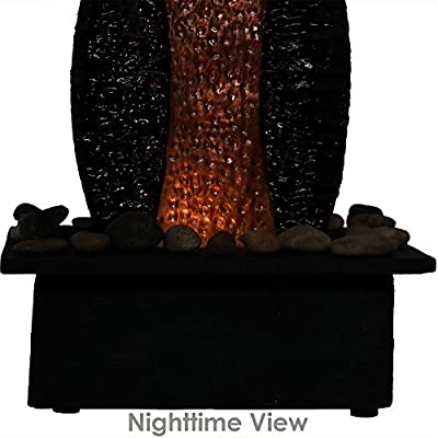 Sunnydaze Copper Accent Flowing Falls Slate Indoor Tabletop Fountain, 12 Inch