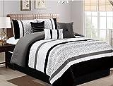 Oversized King Bed in a Bag Set JBFF 7 Piece Oversize Luxury Stripe Bed in Bag Microfiber Comforter Set, Black, King