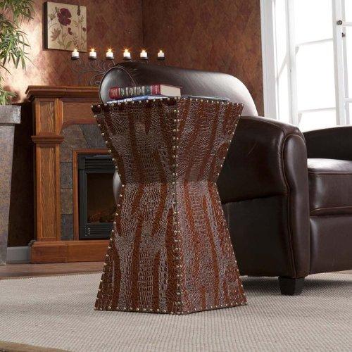 SEI Warrington Faux Leather Accent Table