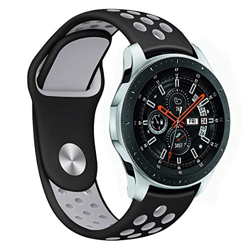 Compatible Samsung Gear S3 Frontier/Classic Bands and Samsung Galaxy Watch 46mm Bands,22mm Silicone Breathable Replacement Strap Quick-Release Pin for Gear S3 Frontier Smart Watch (Black-Grey)