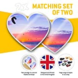 Awesome 2 x Heart Stickers 7.5 cm - Kite Surfing
