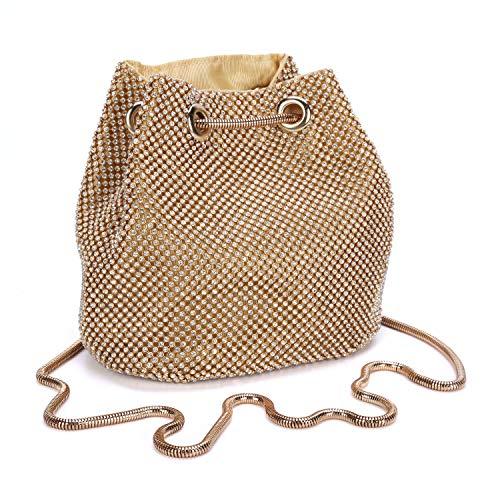 Chichitop Women's Clutch Bag Vintage Rhinestone Wedding Purse Bucket Small Handbag Party Prom Evening Clutch Gold