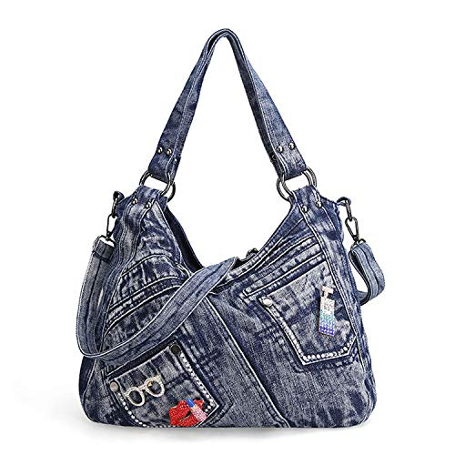 Women Handbag Fashion Joker Denim Shoulder Bag Lady Vintage Casual Jeans Tote Leisure Rhinestone Messenger (Portfolio Dot Leather Polka)