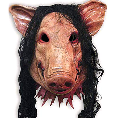 1PC Saw Pig Head Scary Masks Novelty Halloween Mask with Hair Halloween Mask Caveira Cosplay Costume Latex Festival Supplies]()