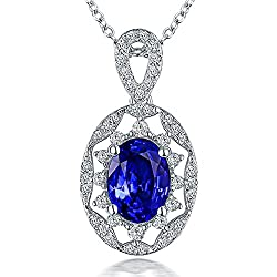 White Gold Natural Tanzanite Diamond  Pendant