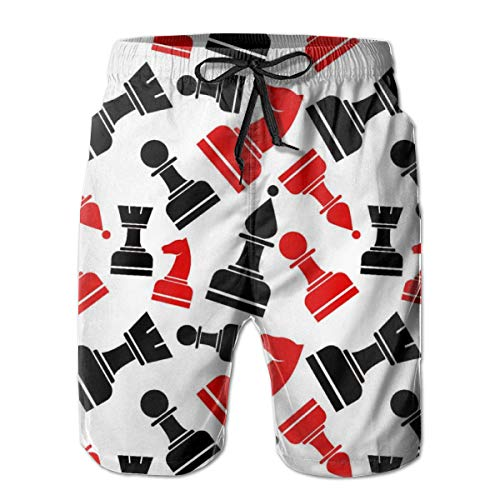 (XUJ YOGA Men's Chess Pattern Board Shorts Breathable Quick Dry Swimwear Beach Holiday Party Surfing Swim Trunks with Elastic Waist Drawstring )
