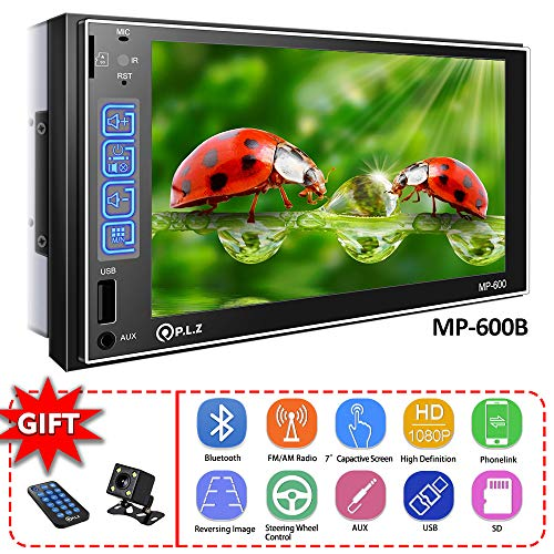 Upgraded PLZ Double Din Car Stereo Car Receiver 7″ Touch Screen in Dash Car Radio Video Multimedia Player MP5 Player BT/TF/USB/AUX/AM/FM Radio with iOS/Android MirrorLink Reversing Video & SWC