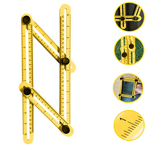 Multi-Angle Template Tool - Professional Grade Ultra Durable Four-Sided Multi-Angle Measuring Ruler, Measures Angles, Easy to Use, Perfect for Handymen, Builders, Craftsmen, DIY
