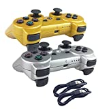Deloke Wireless Bluetooth Controller For PS3 Double Shock - Bundled with USB charge cord (Gold and Silver)