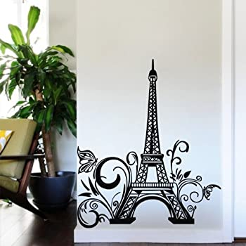 Tall Eiffel Tower Wall Decal Huge Paris City Sticker Decor Wall Sayings  Decal Vinyl Wall Art