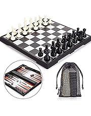 Peradix Echecs-Dames-Backgammon 3 en 1 et Jeu d'échecs Deluxe Pliable Echecs magnétique pour Enfants à partir de 6 Ans et Adultes